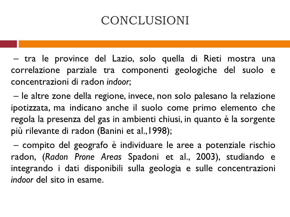 CONCLUSIONI – tra le province del Lazio, solo quella di Rieti mostra una correlazione parziale tra componenti geologiche del suolo e concentrazioni di