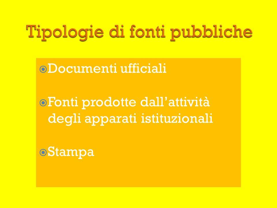 Documenti ufficiali Fonti prodotte dallattività degli apparati istituzionali Stampa