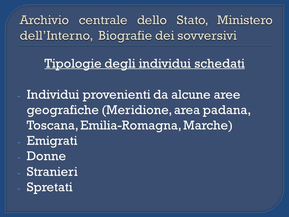Tipologie degli individui schedati - Individui provenienti da alcune aree geografiche (Meridione, area padana, Toscana, Emilia-Romagna, Marche) - Emig