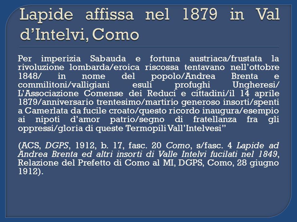 Per imperizia Sabauda e fortuna austriaca/frustata la rivoluzione lombarda/eroica riscossa tentavano nellottobre 1848/ in nome del popolo/Andrea Brent