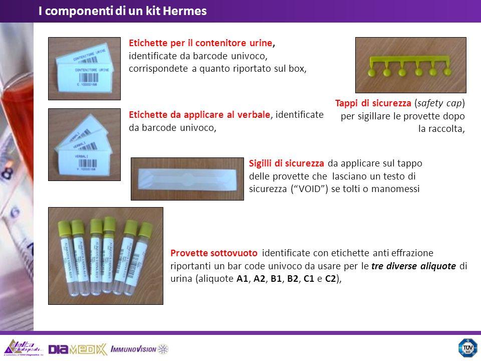 Etichette per il contenitore urine, identificate da barcode univoco, corrispondete a quanto riportato sul box, Etichette da applicare al verbale, iden