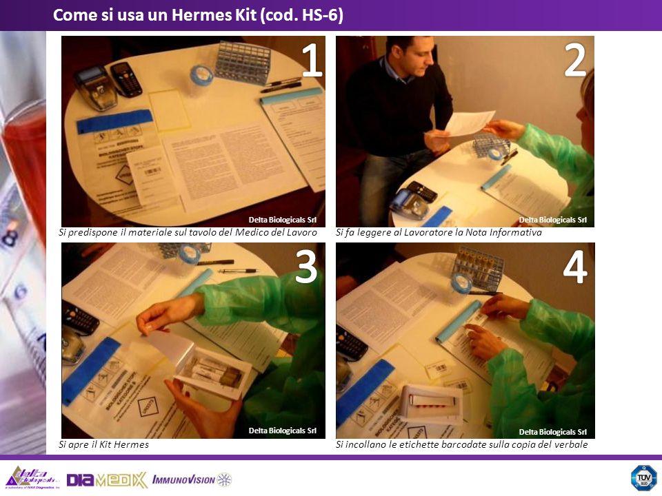 Delta Biologicals Srl Come si usa un Hermes Kit (cod. HS-6) Si predispone il materiale sul tavolo del Medico del LavoroSi fa leggere al Lavoratore la