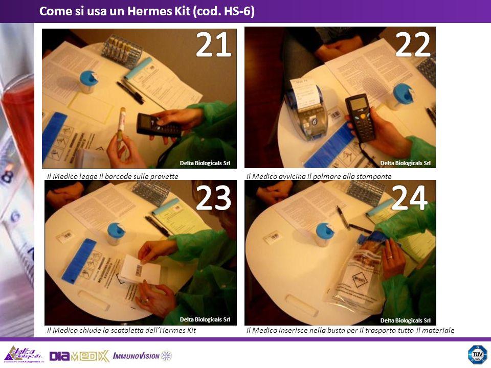 Delta Biologicals Srl Come si usa un Hermes Kit (cod. HS-6) Il Medico legge il barcode sulle provetteIl Medico avvicina il palmare alla stampante Il M