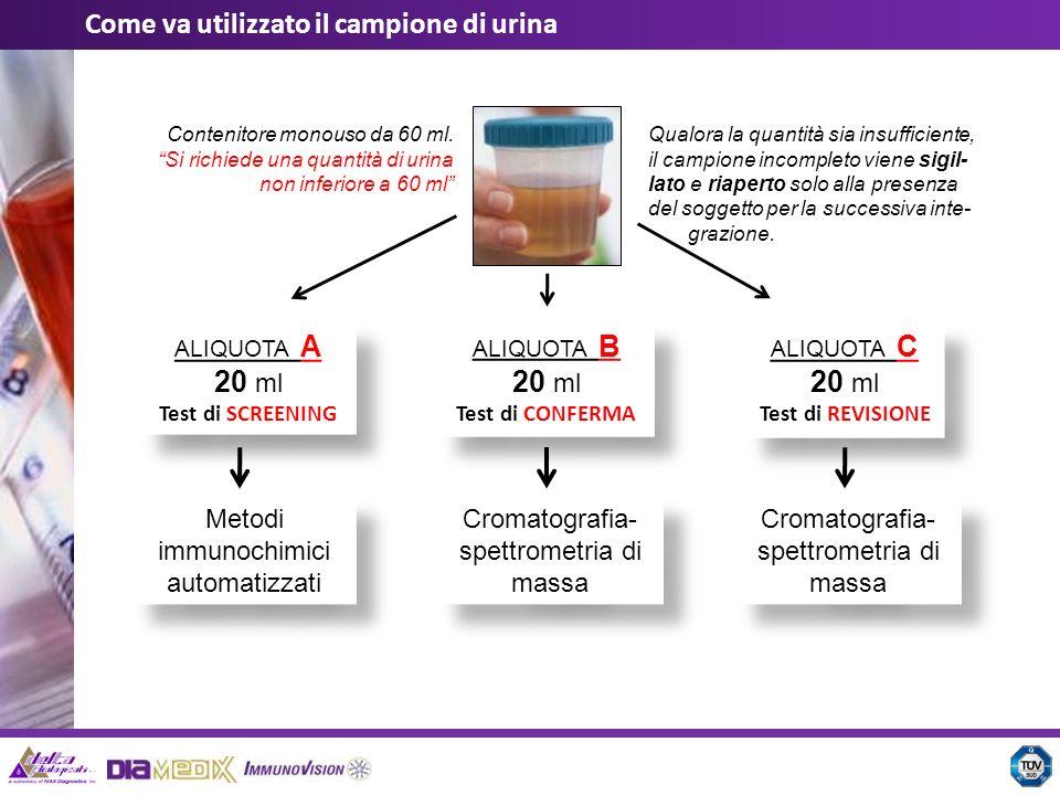 Il contenitore per urine è separato e diverso dalle tre provette per aliquote A, B e C; il tappo a vite del vasetto per urine e le etichette anti-effrazione predisposte permettono leventuale reintegro di urina in caso di minzione insufficiente; il sistema sottovuoto evita qualsiasi interferenza del campione di urina con lesterno e qua- lunque tipo di manipolazione indesiderata; le provette sottovuoto sono compatibili, come forma e dimensione, con qualsiasi analizza- tore random-access: non si richiede alcun travaso di campione; ogni componente del kit Hermes (vasetto urina, provette, etichette) è identificato univoca- mente sia con un barcode che con un codice numerico; la tracciabilità dellintero processo è garantita dal palmare e dalla stampante bluetooth ad esso associata; tutti i dati possono essere scaricati ed archiviati sul software dedicato SMTS; Il sistema Hermes è identificato in modo univoco da un proprio codice prodotto ed una data di scadenza.