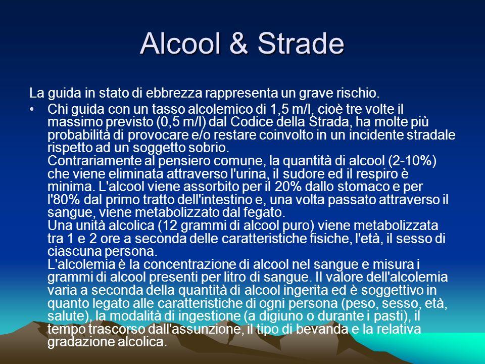 Alcool & Strade La guida in stato di ebbrezza rappresenta un grave rischio.