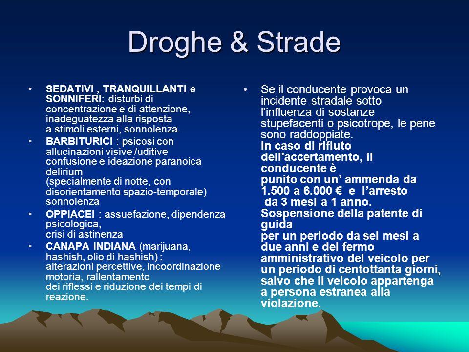Droghe & Strade SEDATIVI, TRANQUILLANTI e SONNIFERI: disturbi di concentrazione e di attenzione, inadeguatezza alla risposta a stimoli esterni, sonnolenza.
