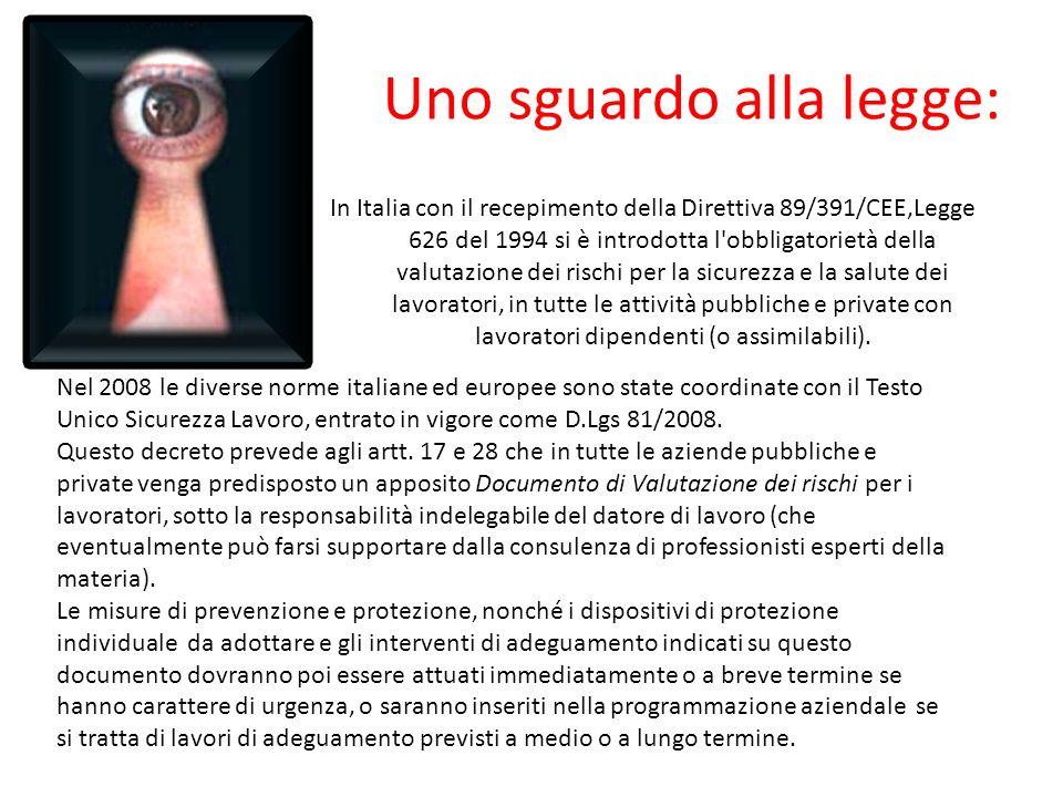 Uno sguardo alla legge: In Italia con il recepimento della Direttiva 89/391/CEE,Legge 626 del 1994 si è introdotta l obbligatorietà della valutazione dei rischi per la sicurezza e la salute dei lavoratori, in tutte le attività pubbliche e private con lavoratori dipendenti (o assimilabili).