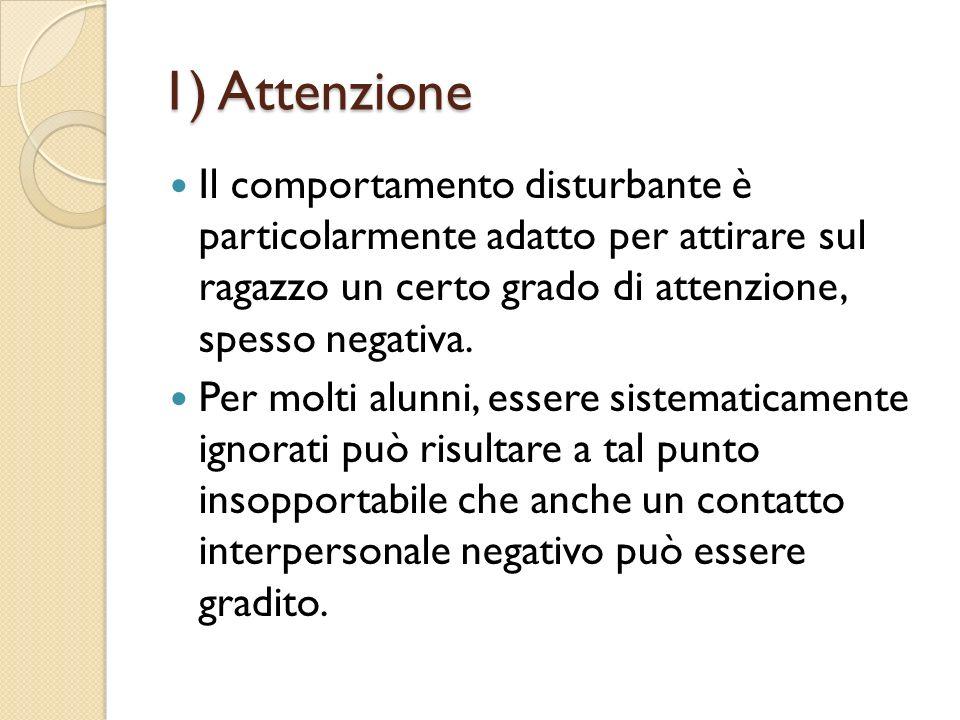 1) Attenzione Il comportamento disturbante è particolarmente adatto per attirare sul ragazzo un certo grado di attenzione, spesso negativa. Per molti