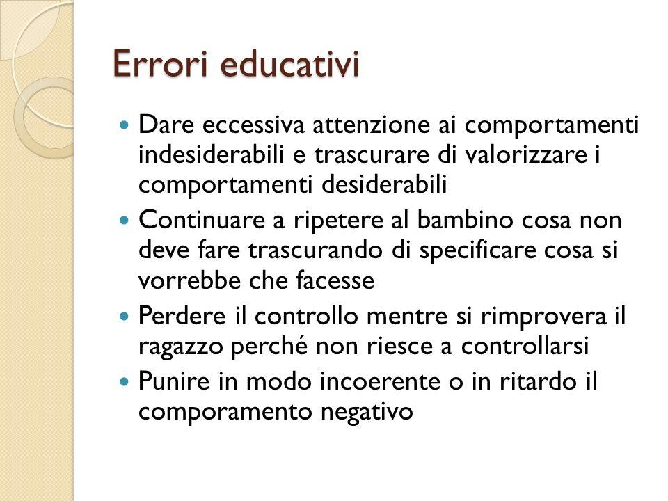 Errori educativi Dare eccessiva attenzione ai comportamenti indesiderabili e trascurare di valorizzare i comportamenti desiderabili Continuare a ripet