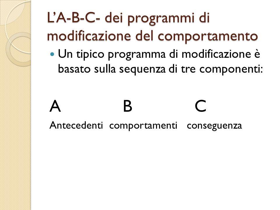 LA-B-C- dei programmi di modificazione del comportamento Un tipico programma di modificazione è basato sulla sequenza di tre componenti: A B C Anteced