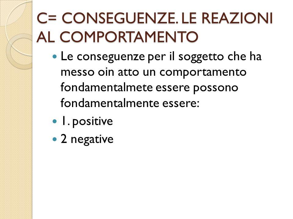 C= CONSEGUENZE. LE REAZIONI AL COMPORTAMENTO Le conseguenze per il soggetto che ha messo oin atto un comportamento fondamentalmete essere possono fond
