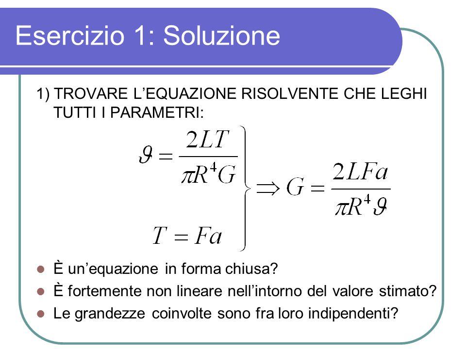 Esercizio 1: Soluzione 1) TROVARE LEQUAZIONE RISOLVENTE CHE LEGHI TUTTI I PARAMETRI: È unequazione in forma chiusa? È fortemente non lineare nellintor