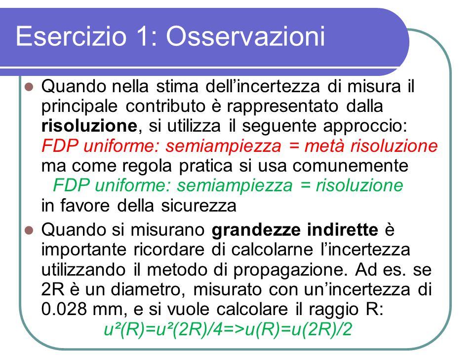 Esercizio 1: Osservazioni Quando nella stima dellincertezza di misura il principale contributo è rappresentato dalla risoluzione, si utilizza il segue