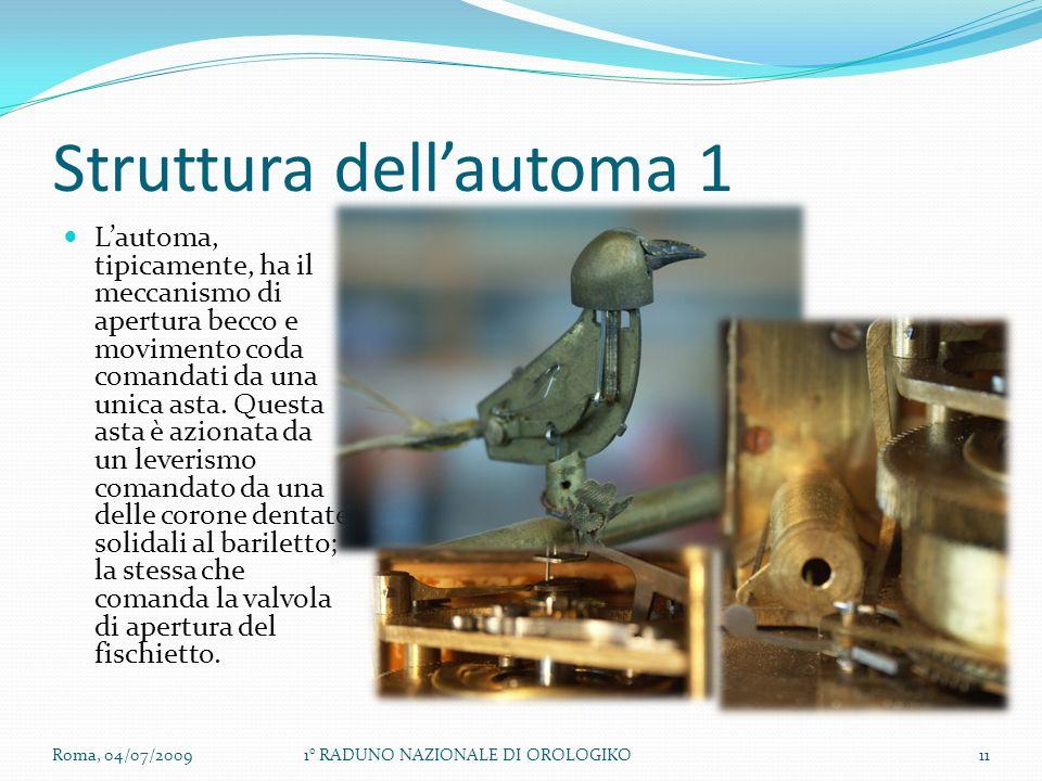 Struttura dellautoma 1 Lautoma, tipicamente, ha il meccanismo di apertura becco e movimento coda comandati da una unica asta.