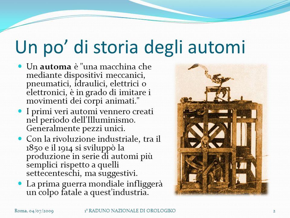Un po di storia degli automi Un automa è una macchina che mediante dispositivi meccanici, pneumatici, idraulici, elettrici o elettronici, è in grado di imitare i movimenti dei corpi animati. I primi veri automi vennero creati nel periodo dellIlluminismo.