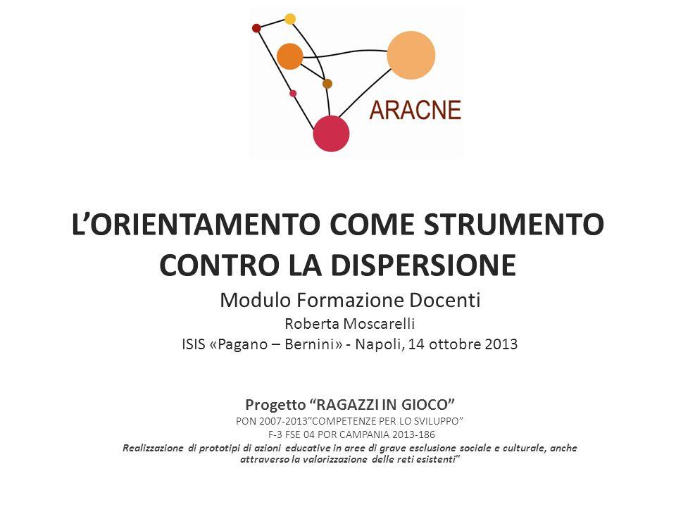 LORIENTAMENTO COME STRUMENTO CONTRO LA DISPERSIONE Modulo Formazione Docenti Roberta Moscarelli ISIS «Pagano – Bernini» - Napoli, 14 ottobre 2013 Prog