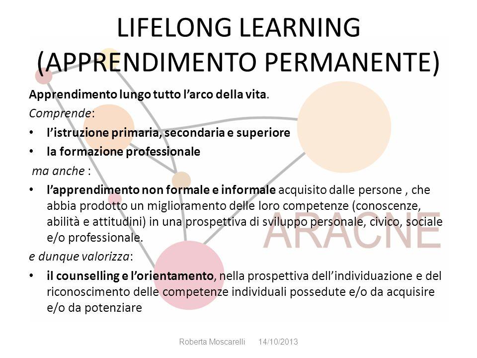 LIFELONG LEARNING (APPRENDIMENTO PERMANENTE) Apprendimento lungo tutto larco della vita. Comprende: listruzione primaria, secondaria e superiore la fo