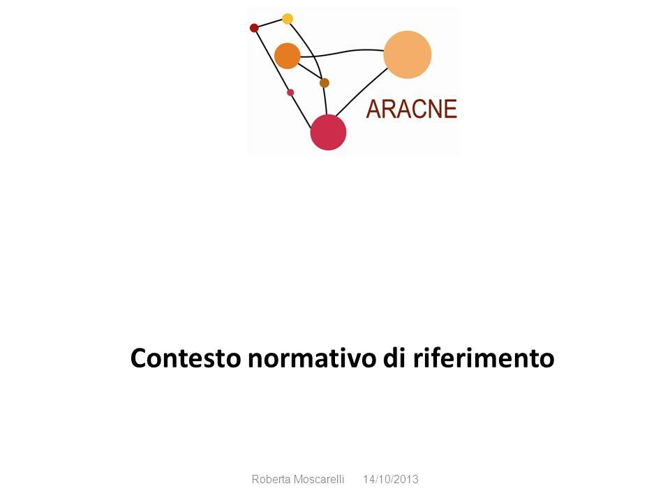 Contesto normativo di riferimento Roberta Moscarelli 14/10/2013