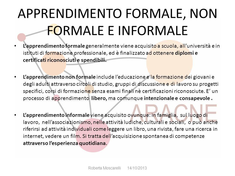 APPRENDIMENTO FORMALE, NON FORMALE E INFORMALE Lapprendimento formale generalmente viene acquisito a scuola, alluniversità e in istituti di formazione