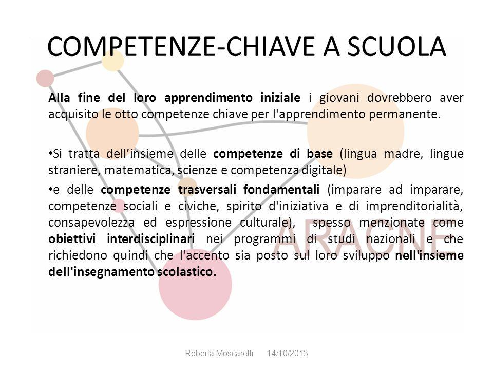 COMPETENZE-CHIAVE A SCUOLA Alla fine del loro apprendimento iniziale i giovani dovrebbero aver acquisito le otto competenze chiave per l'apprendimento