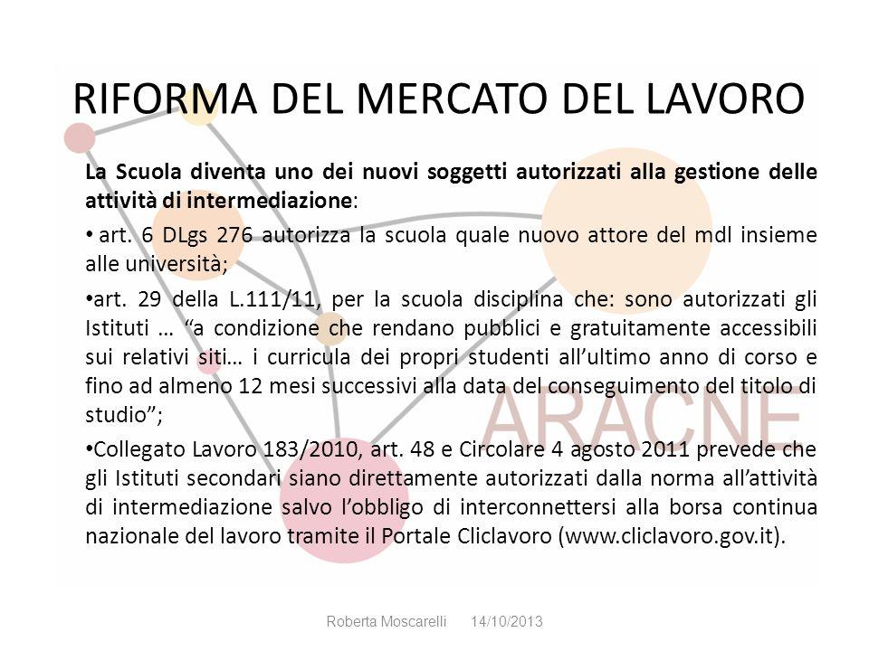 RIFORMA DEL MERCATO DEL LAVORO La Scuola diventa uno dei nuovi soggetti autorizzati alla gestione delle attività di intermediazione: art. 6 DLgs 276 a