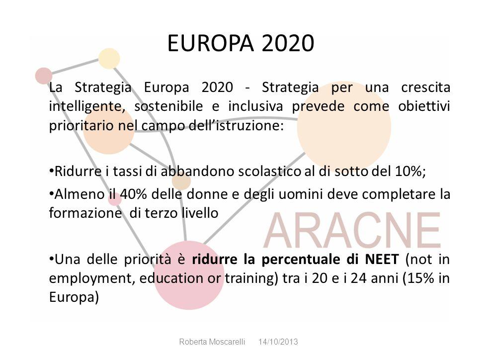 EUROPA 2020 La Strategia Europa 2020 - Strategia per una crescita intelligente, sostenibile e inclusiva prevede come obiettivi prioritario nel campo d