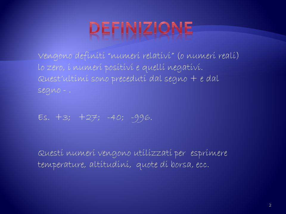 Vengono definiti numeri relativi (o numeri reali) lo zero, i numeri positivi e quelli negativi. Questultimi sono preceduti dal segno + e dal segno -.