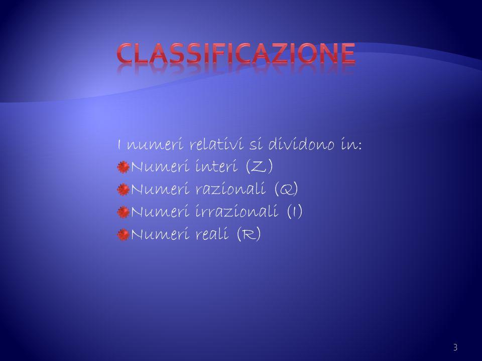 3 I numeri relativi si dividono in: Numeri interi (Z) Numeri razionali (Q) Numeri irrazionali (I) Numeri reali (R)