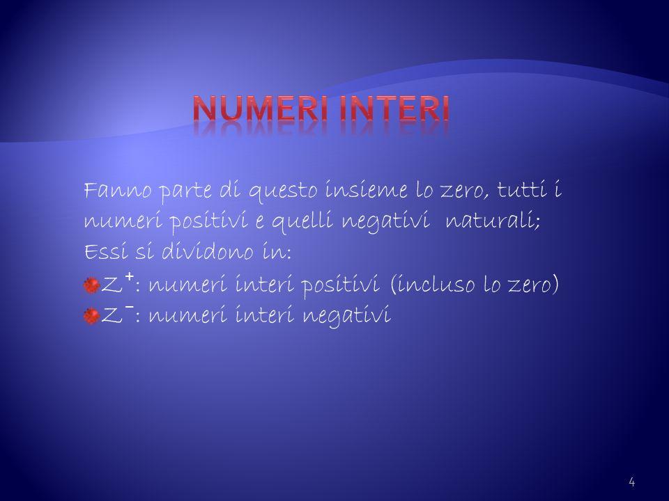 4 Fanno parte di questo insieme lo zero, tutti i numeri positivi e quelli negativi naturali; Essi si dividono in: Z : numeri interi positivi (incluso