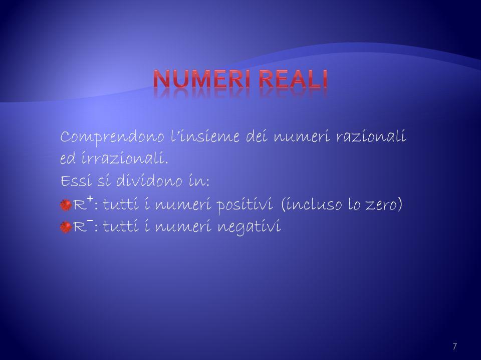 7 Comprendono linsieme dei numeri razionali ed irrazionali. Essi si dividono in: R : tutti i numeri positivi (incluso lo zero) R : tutti i numeri nega