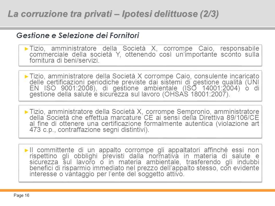 Page 16 16 Gestione e Selezione dei Fornitori Tizio, amministratore della Società X, corrompe Caio, responsabile commerciale della società Y, ottenend