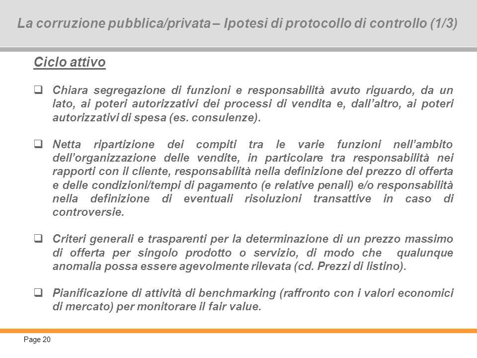 Page 20 20 La corruzione pubblica/privata – Ipotesi di protocollo di controllo (1/3) Ciclo attivo Chiara segregazione di funzioni e responsabilità avu