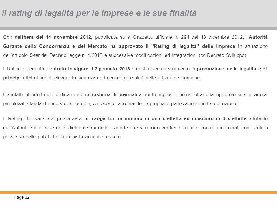 Page 32 Con delibera del 14 novembre 2012, pubblicata sulla Gazzetta ufficiale n. 294 del 18 dicembre 2012, lAutorità Garante della Concorrenza e del