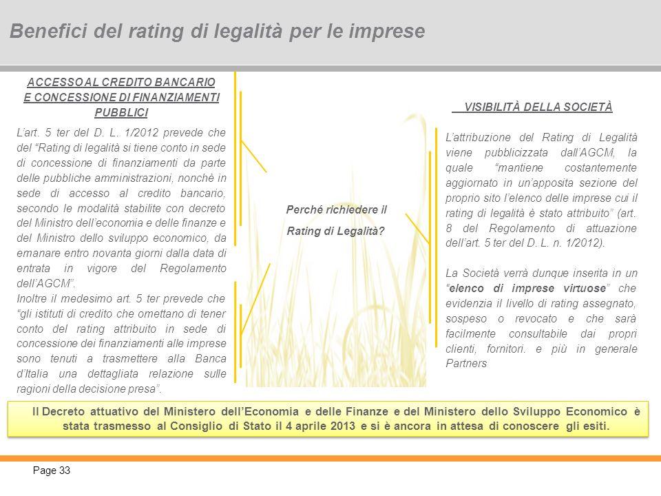 Page 33 Perché richiedere il Rating di Legalità? VISIBILITÀ DELLA SOCIETÀ Lattribuzione del Rating di Legalità viene pubblicizzata dallAGCM, la quale