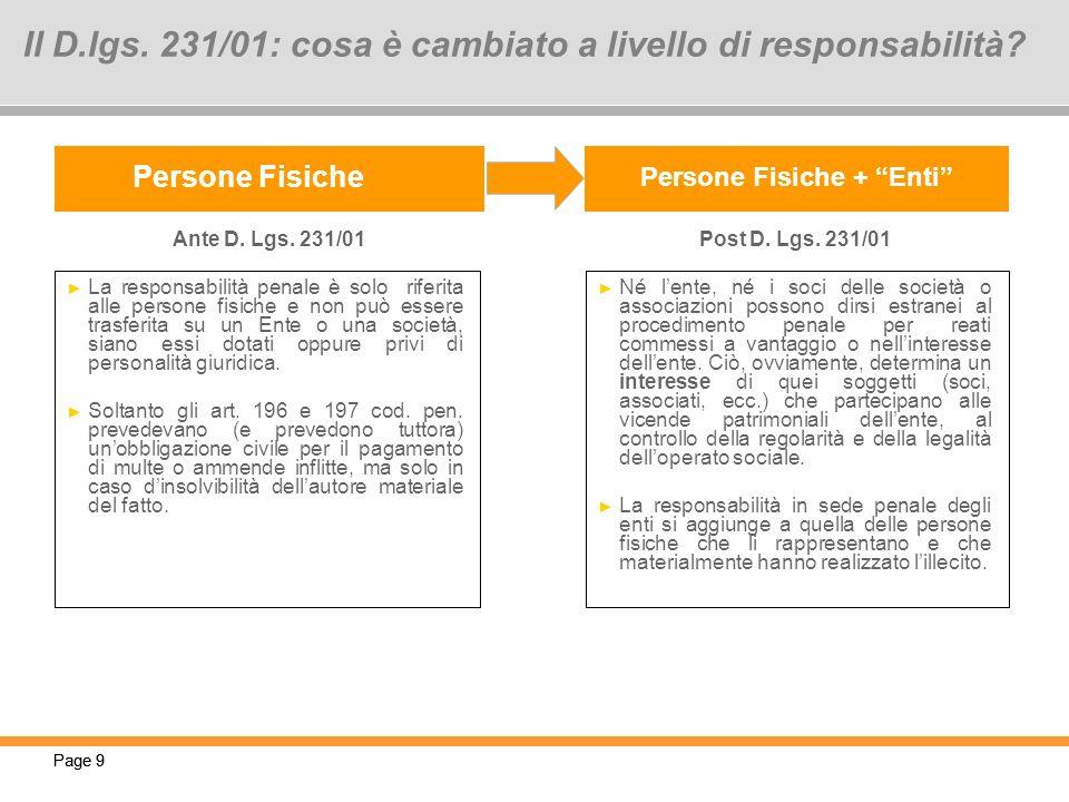 Page 9 Persone Fisiche Persone Fisiche + Enti La responsabilità penale è solo riferita alle persone fisiche e non può essere trasferita su un Ente o u