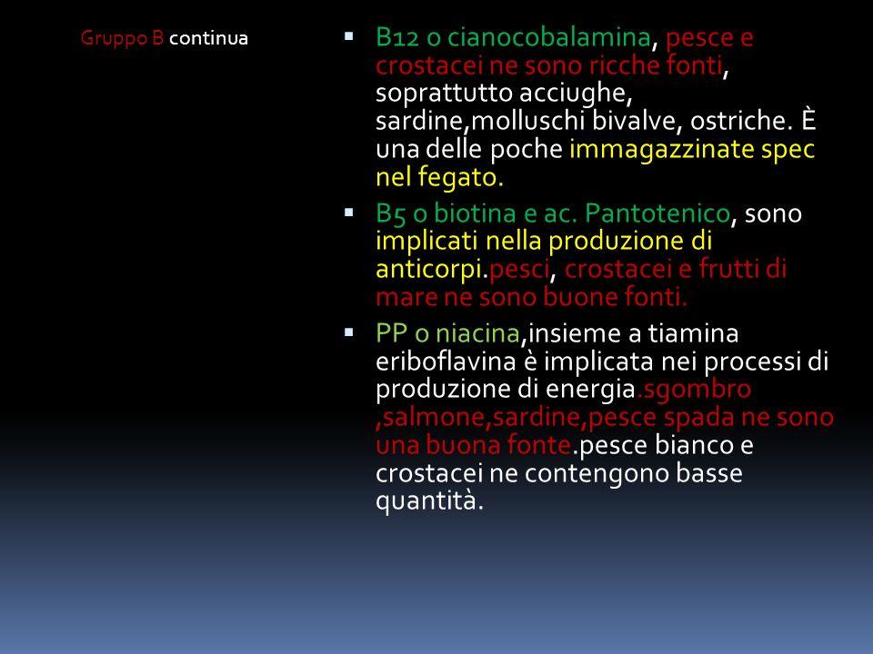 Gruppo B continua B6 o piridossina,utile nel metabolismo delle proteine, utilizzo dei grassi e formazione dei globuli rossi.maggiore il consumo di pro
