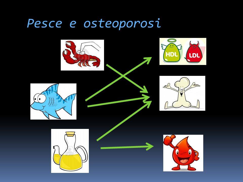 Pesce e osteoporosi Colpisce le donne in menopausa ed è associata a ipertensione e ipercolesterolemia (sconsigliato uso del latte). Utile pesce spec a