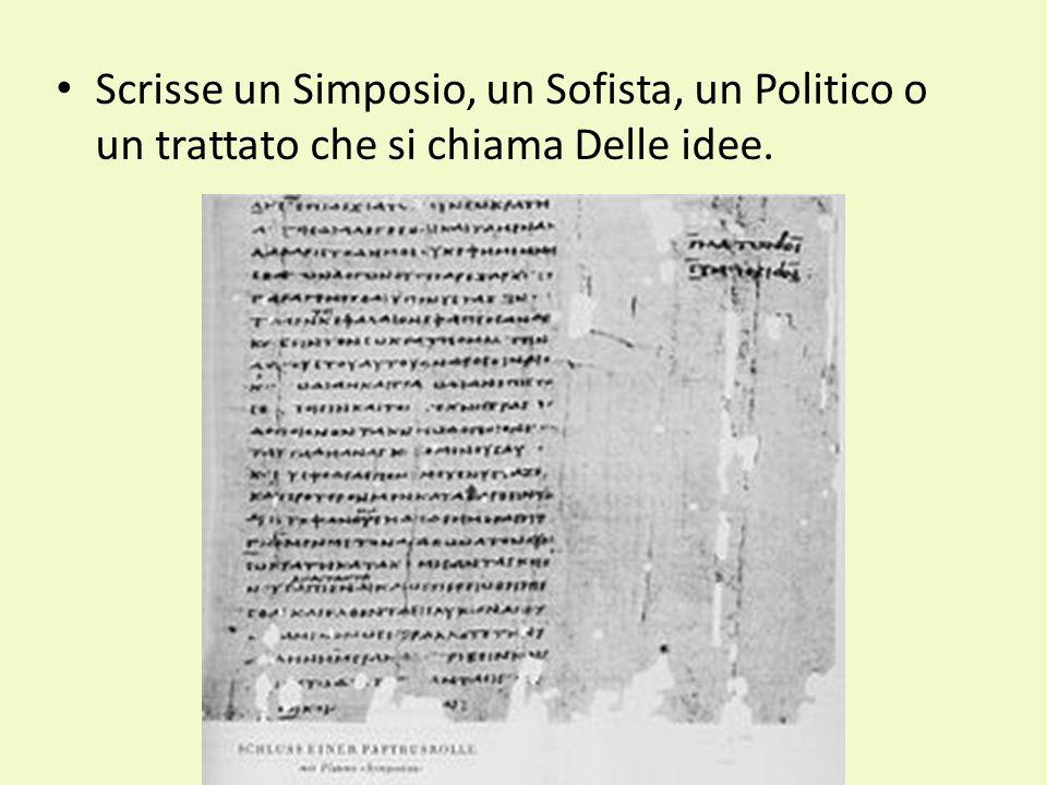 Scrisse un Simposio, un Sofista, un Politico o un trattato che si chiama Delle idee.