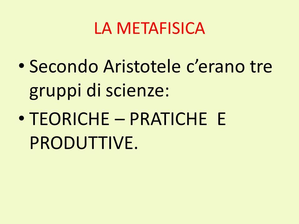LA METAFISICA Secondo Aristotele cerano tre gruppi di scienze: TEORICHE – PRATICHE E PRODUTTIVE.