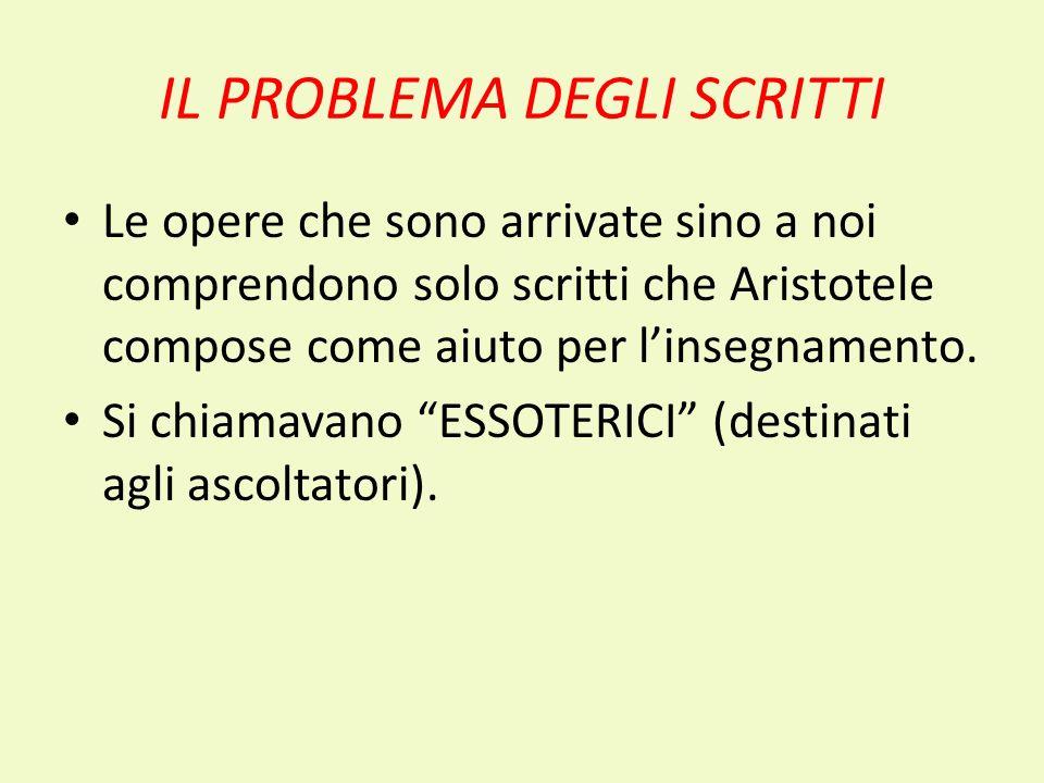 IL PROBLEMA DEGLI SCRITTI Le opere che sono arrivate sino a noi comprendono solo scritti che Aristotele compose come aiuto per linsegnamento. Si chiam