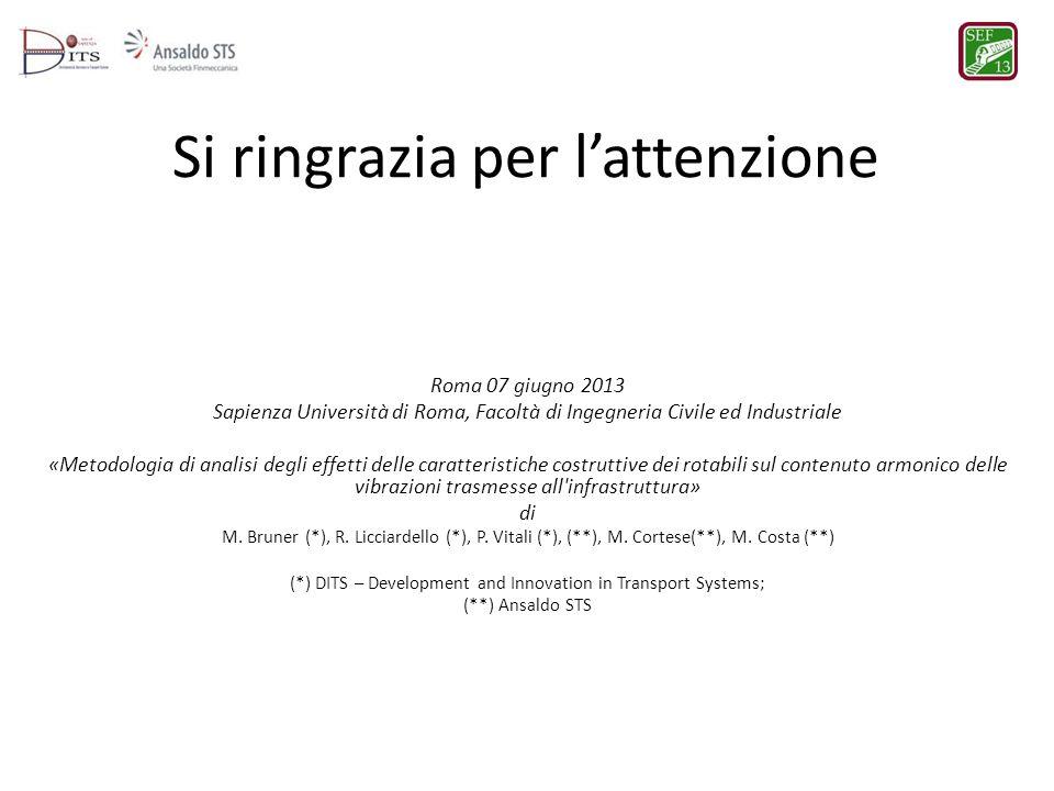 Si ringrazia per lattenzione Roma 07 giugno 2013 Sapienza Università di Roma, Facoltà di Ingegneria Civile ed Industriale «Metodologia di analisi degl