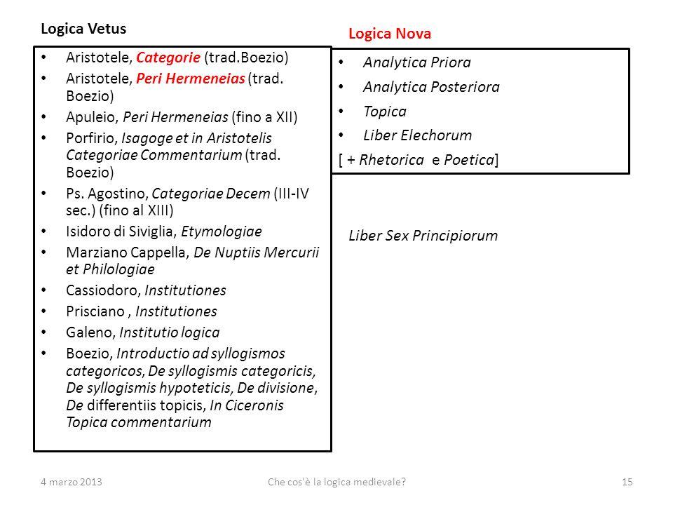 Logica Vetus Aristotele, Categorie (trad.Boezio) Aristotele, Peri Hermeneias (trad. Boezio) Apuleio, Peri Hermeneias (fino a XII) Porfirio, Isagoge et