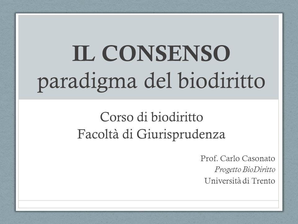 IL CONSENSO paradigma del biodiritto Corso di biodiritto Facoltà di Giurisprudenza Prof. Carlo Casonato Progetto BioDiritto Università di Trento