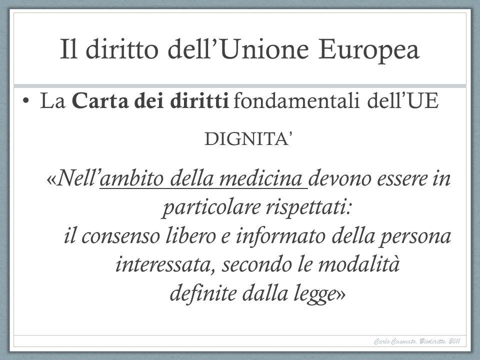 Il diritto dellUnione Europea La Carta dei diritti fondamentali dellUE DIGNITA « Nellambito della medicina devono essere in particolare rispettati: il