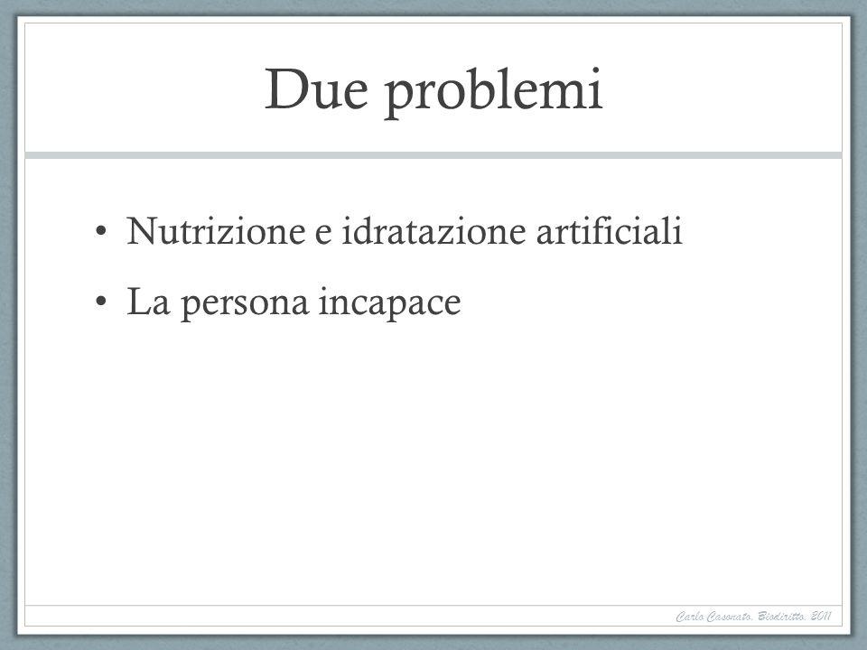 Due problemi Nutrizione e idratazione artificiali La persona incapace Carlo Casonato, Biodiritto, 2011