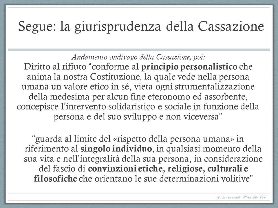Segue: la giurisprudenza della Cassazione Andamento ondivago della Cassazione, poi: Diritto al rifiuto conforme al principio personalistico che anima