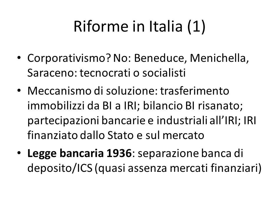 Riforme in Italia (1) Corporativismo? No: Beneduce, Menichella, Saraceno: tecnocrati o socialisti Meccanismo di soluzione: trasferimento immobilizzi d