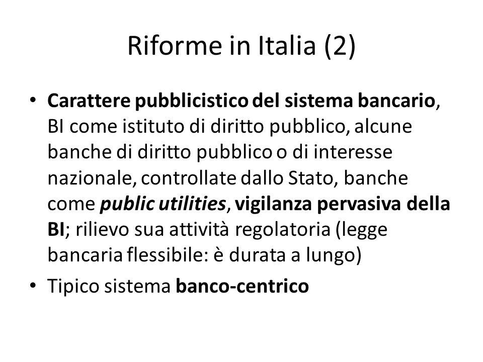 Riforme in Italia (2) Carattere pubblicistico del sistema bancario, BI come istituto di diritto pubblico, alcune banche di diritto pubblico o di inter