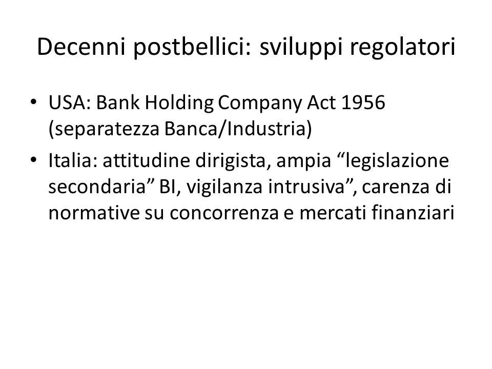 Decenni postbellici: sviluppi regolatori USA: Bank Holding Company Act 1956 (separatezza Banca/Industria) Italia: attitudine dirigista, ampia legislaz