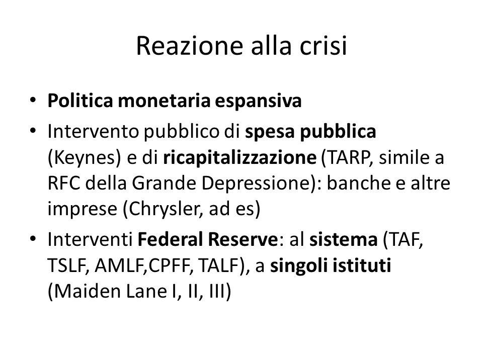 Reazione alla crisi Politica monetaria espansiva Intervento pubblico di spesa pubblica (Keynes) e di ricapitalizzazione (TARP, simile a RFC della Gran